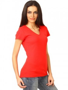 United Colors Of Benetton Women Solid Red Tshirts
