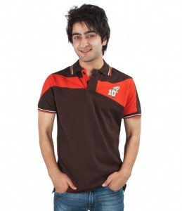 Rugby League Brown Orange Mens Collar Tee